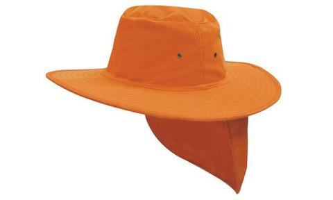 Fluro Orange Canvas Sun Hat with Flap