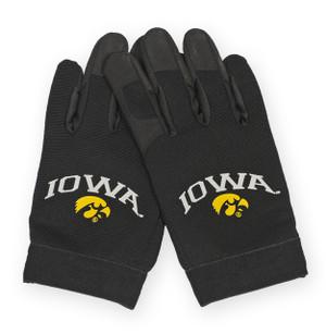 Iowa Hawkeyes Black Faux Leather Gloves
