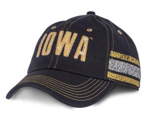 Iowa Hawkeyes Washed-Out Black & Gold Cap - Jillian