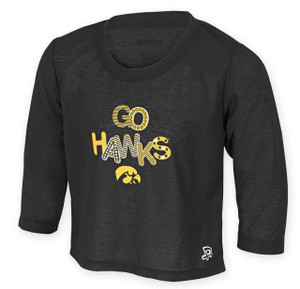 Iowa Hawkeyes Black Youth Long Sleeve with Shoulder Patches - Jacob