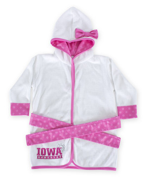 Iowa Hawkeyes Pink & White Infant Robe - Piper