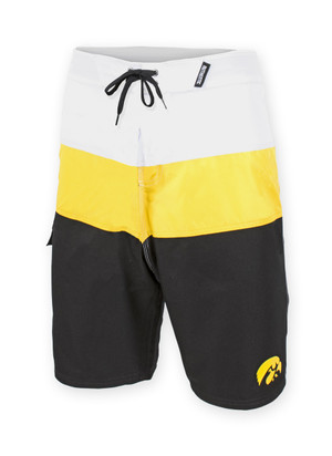 Iowa Hawkeyes Black, Gold, & White Board Shorts - Aaron