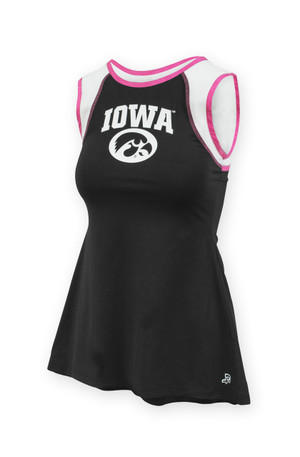 Iowa Hawkeyes Black Tie-Back Tank Top - Ally