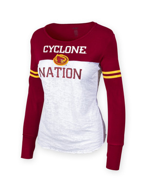 Iowa State Women's Cardinal & Gold Long Sleeve Shirt - Cora