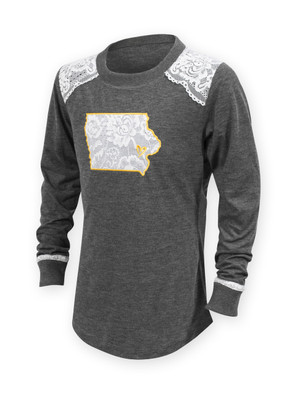 Iowa Hawkeyes Youth Long Sleeve Shirt with Lace - Kimberly