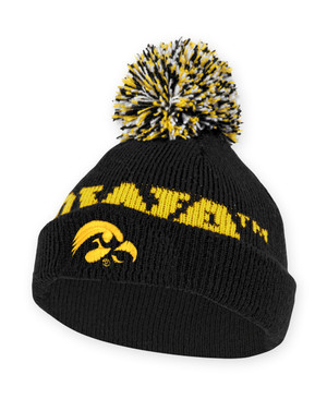 Iowa Hawkeyes Black and Gold Knit Beanie - Kayden