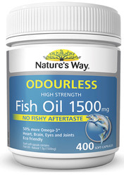 Fish Oil Odourless 1500mg 200 Caps x 2 Pack Nature's Way