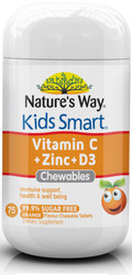 Nature's Way Kids Smart Vitamin C + Zinc & D3 75 Tabs x 3 Pack
