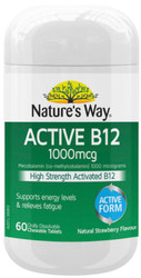 Active B12 1000mcg Chewable 60 Tabs x 3 Pack Nature's Way