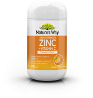 Zinc High Strength + Vitamin C Chewable 60 Tabs x 3 Pack Nature's Way