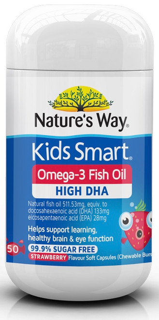 Kids Smart Omega 3 Fish Oil Strawberry 50 Softgel Capsules x 3 Pack Nature's Way