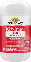 Kids Smart Iron plus Vitamin C Chewable Tablets 50 Tabs x 3 Pack Nature's Way