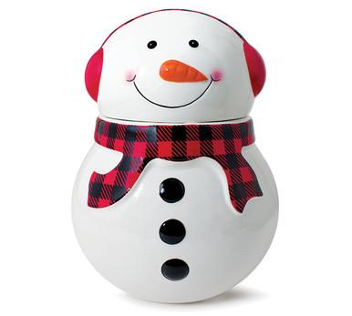 Adorable Plaid Snowman Keeping Warm