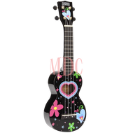 Mahalo Art Series Soprano Ukulele Heart Black W/Bag MA1HEBK