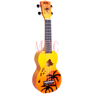 Mahalo Designer Series Soprano Ukulele Hibicus Orange Burst W/Bag MD1HBORB