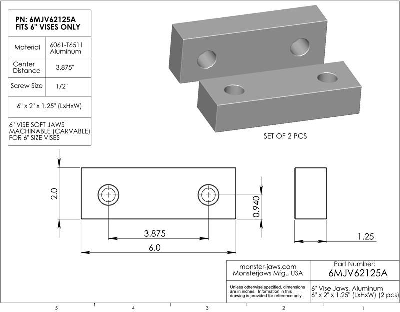 "6 x 2 x 1.25/"" standard Vise Soft Jaws Aluminium Machinable for Kurt"