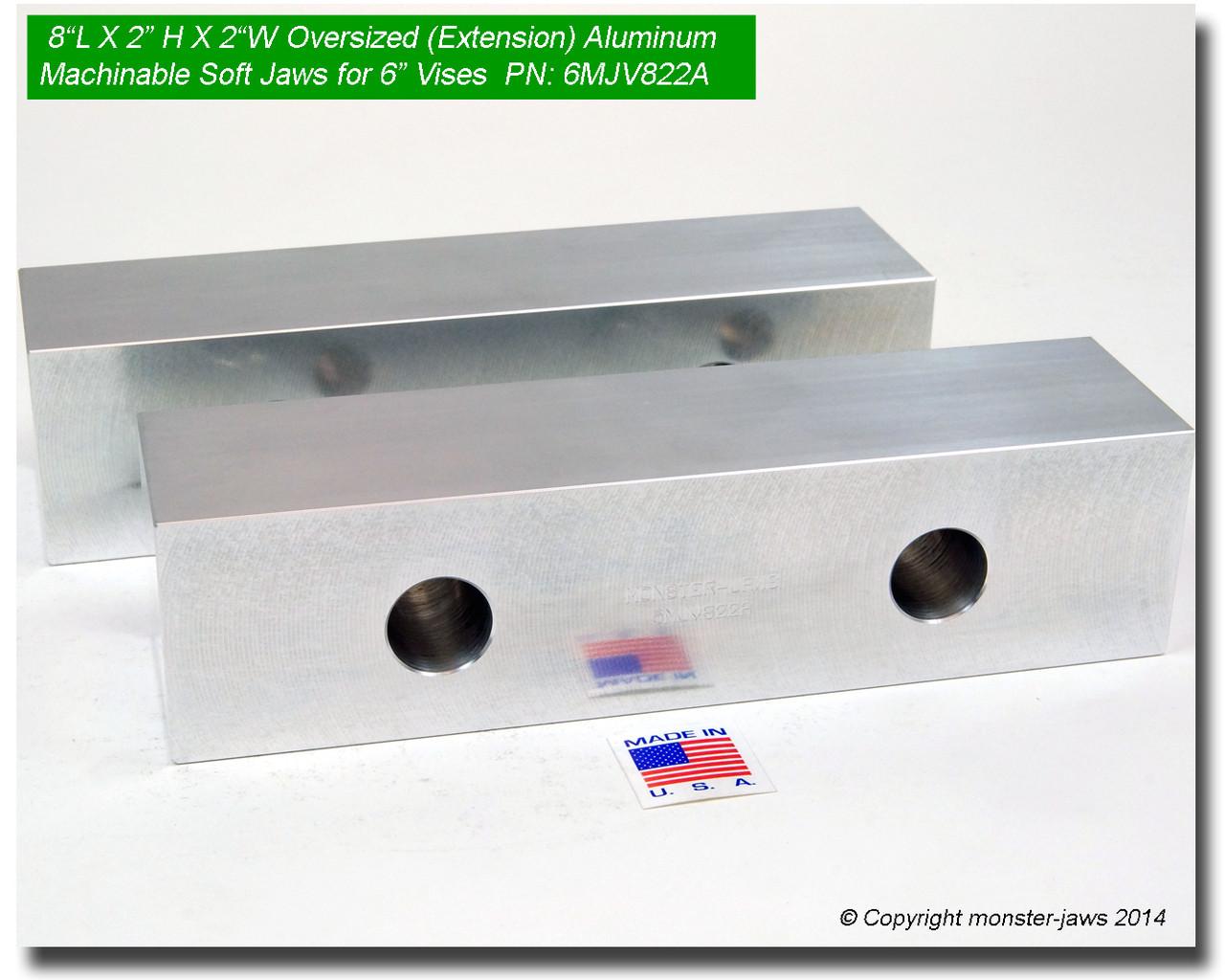 "20 PACK 6 x 2 x1.25 Machined Aluminum Vise Soft Jaws For Kurt 6/"" Vises FREE SHIP"