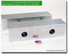 """8 x 2 x 2"""" Oversized (Extension) Aluminum Soft Jaws for 6"""" Vises"""