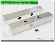 "12 x 2 x 2"" Oversized (Extension) Aluminum Soft Jaws for 6"" Vises"