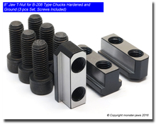 """8"""" Jaw T-Nut for B-208 Type Chucks Hardened and Ground (3 Piece Set Screws Included)"""