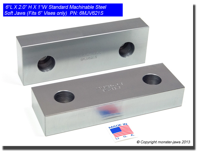 "6/"" x 2/"" x 1/"" Standard Aluminum Soft Jaws Set Fits Kurt 6/"" Vises 1 SET"