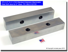 "10 x 2 x 1.5"" Oversized (Extension) Steel Machinable Jaws for 6"" Vises"