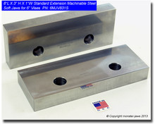 "8 x 3 x 1"" Oversized (Extension) Steel Machinable Jaws for 6"" Vises"