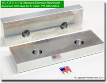 "8 x 3 x 1"" Oversized (Extension) Aluminum Soft Jaws for 6"" Vises"