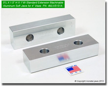 """5 x 1.5 x 1"""" Oversized (Extension) Aluminum Jaws for 4"""" Vises"""