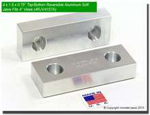 "4 x 1.5 x 0.75"" Top/Bottom Reversible Aluminum Jaws for 4"" Vises"