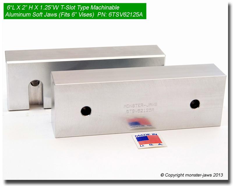 "6 x 2 x 1.5 QUICK CHANGE Machinable Aluminum Vise Soft Jaws For Kurt 6/"" Vises"