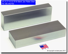 "6 x 2 x 0.75"" Steel Blank Jaw Plates"