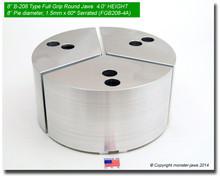 "8"" Aluminum Full Grip Round Jaws for B-208 Chucks (4.0"" HT, 8"" Pie diameter)"