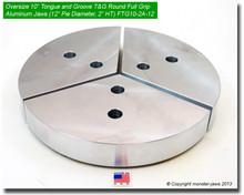 "10"" Oversized Aluminum American Standard Tongue & Groove Full Grip Jaws (2.0"" HT, 12"" Pie Diameter)"