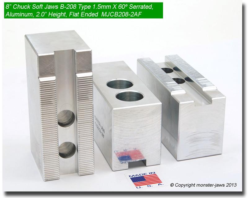 "8/"" Aluminum Soft Jaws 1.5mm x 60° Serrated B-208 Lathe Chuck Flat End 2.0/"" HT"