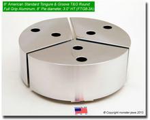 "8"" Aluminum American Standard Tongue & Groove Full Grip Round Jaws (3.0"" HT, 8"" Pie Diameter)"
