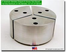 "8"" Aluminum American Standard Tongue & Groove Full Grip Round Jaws (4.0"" HT, 8"" Pie Diameter)"
