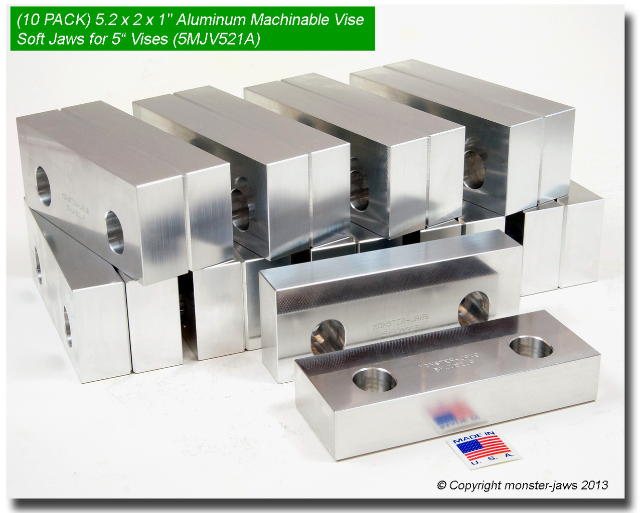 "6 x 2 x 2/"" Standard Aluminum Soft Jaws Set Fits Kurt 6/"" Vises Discount 10 PACK"