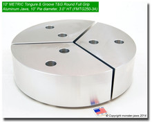 "10"" METRIC Full Grip Tongue & Groove Aluminum Jaws (3"" HT, 10"" Pie Diameter)"
