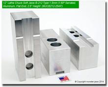 """12"""" Aluminum Jaws 1.5mm x 60° Serrated for B-212 Chucks FLAT END (2.5"""" HT)"""
