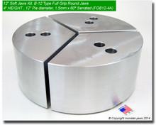 "12"" Full Grip Round Soft Jaws Aluminum for B-12 Chucks (4"" HT, 12"" Pie diameter)"