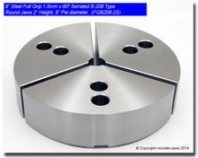 "8"" Steel Full Grip Round Jaws for B-208 Chucks (2"" HT, 8"" Pie diameter)"