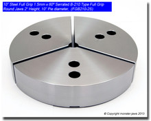 "10"" Steel Full Grip Round Jaws for B-210 Chucks (10"" Pie diameter, 2"" HT)"
