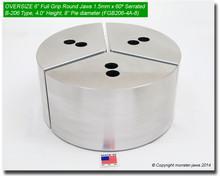 "6"" Oversized Aluminum Full Grip Round Jaws for B-206 Chucks (4"" HT, 8"" Pie diameter)"