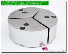 "10"" Undersized Aluminum Full Grip Round Jaws for B-210 Chucks (8"" Pie diameter, 3"" HT)"