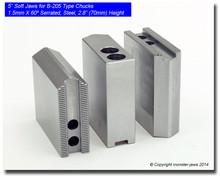 """5"""" Steel Jaws 1.5mm x 60° Serrated for B-205 Chucks (2.8"""" HT)"""