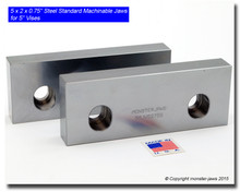 """5 x 2 x 0.75"""" Steel Standard Machinable Jaws for 5"""" Vises"""