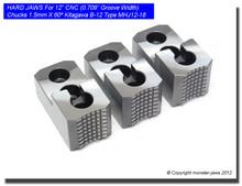 "12"" Hard Jaws 1.5mm x 60° Serrated for B-12 CNC Lathe Chucks (0.709 Groove)"