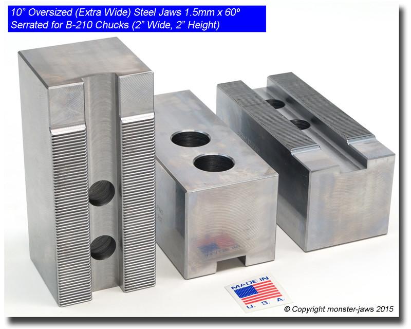 """2.0/"""" HT USA 10/"""" Aluminum Jaws 1.5mm x 60° Serrated for B-210 Chucks FLAT END"""