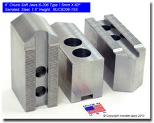 """6"""" Steel Jaws 1.5mm x 60° Serrated for B-206 Chucks Pointed (1.5"""" HT)"""